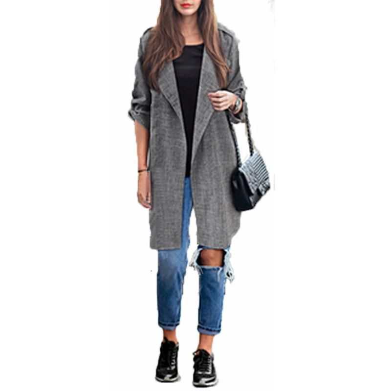 Plus Large Size Jacket 2017 Fashion Spring Autumn Women Casual Loose Lapel Windbreaker Cape Coat Solid Linen Long Cardigan