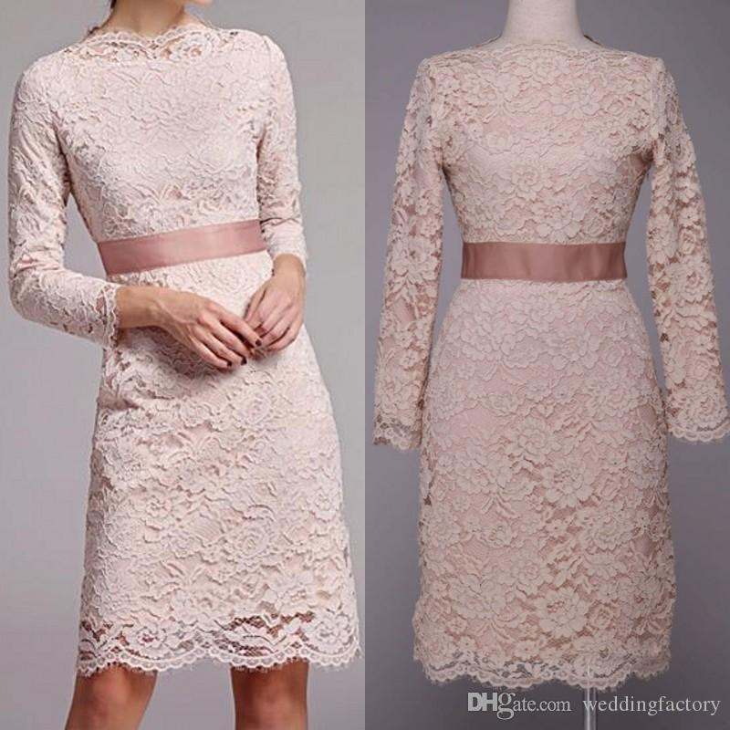 Elegant Modest Mother Of The Bride Dresses Sheath Knee Length Long Sleeved Lace  Bridesmaids Dresses Young Wedding Guest Cocktail Party Gown Long Sleeved  Lace ...