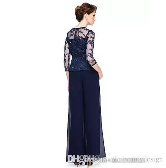 Elegante azul marino, madre de la novia, trajes de pantalón con lentejuelas más el tamaño 2017 boda madre vestido con pura joya cuello