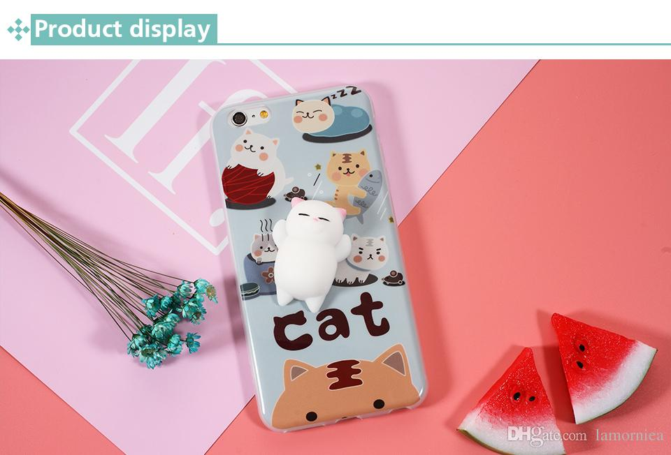 Lamorniea Phone Case for iPhone 6 6S 6 plus 3D Cute Soft Silicone Squishy Cat for iPhone 7 7 plus 5S Cover Animal Kitty