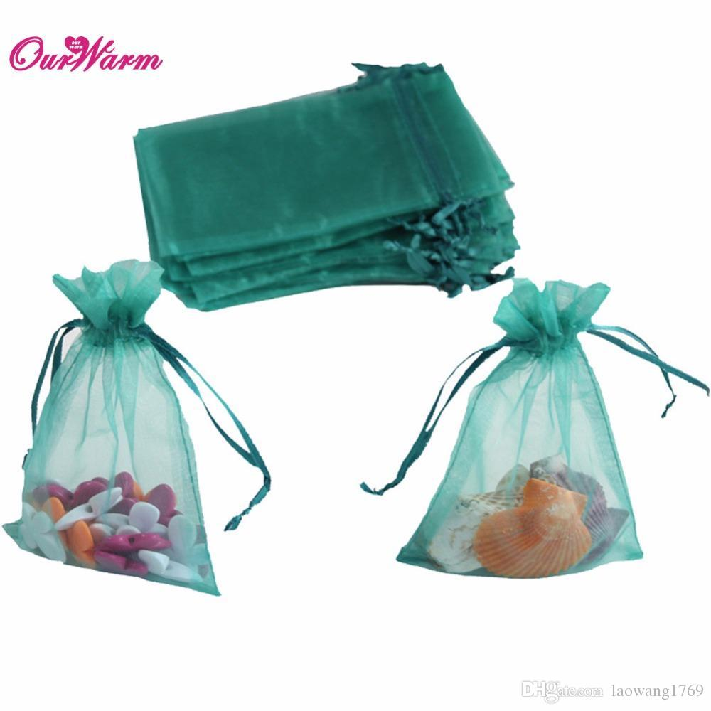 2018 Teal Blue Strong Sheer Organza Pouch Wedding Favors Gift Candy ...
