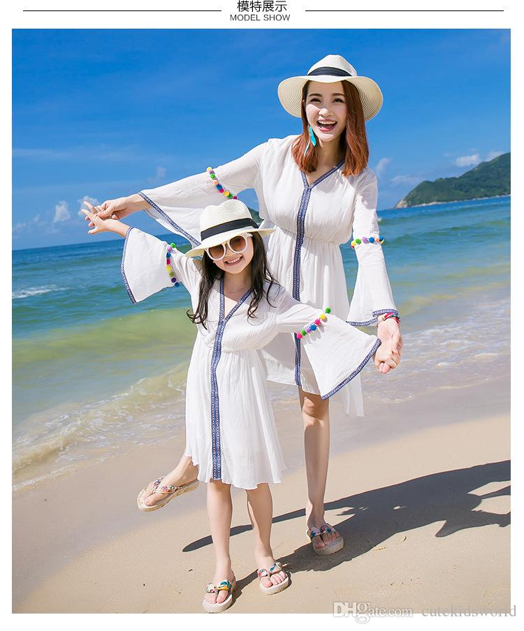 Summer Dress 2017 For Beach Dress Mother And Daughter Clothes White Flare Sleeve Mother Daughter ...