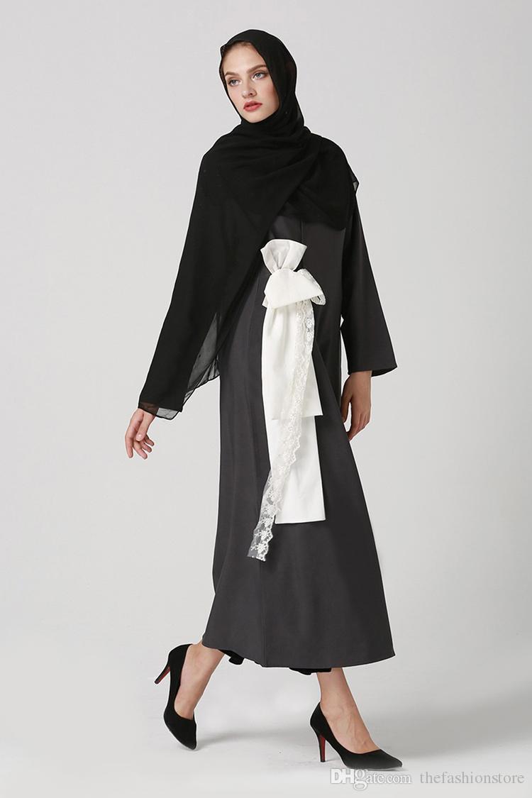 Factory Price Muslim Women Long Sleeve Black Kaftan Dress Islamic Arabic Style Lace Bow Jilbab Dress