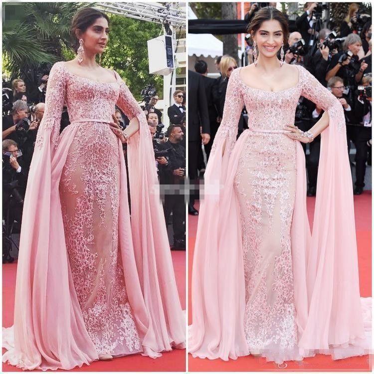 Sonam Kapoor Elie Saab Overskirt Evening Dresses 2017 Pink ...