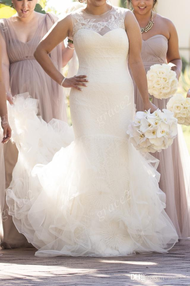 VW Designer Mermaid Wedding Dresses 2017 for African Girls with Sheer Neck and Tiered Long Skirt Real Bride Dress with V Back & Sleeveless