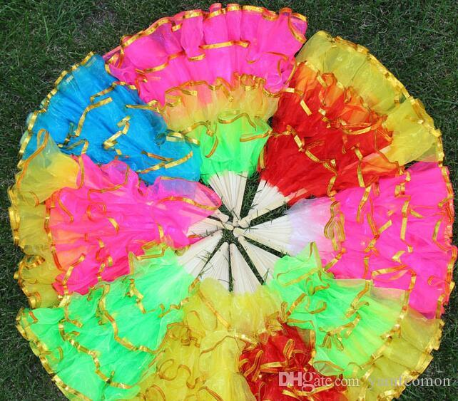 Free shipping Newest Chinese silk dance fan KungFu FAN Belly Dancing Fans  with golden edge