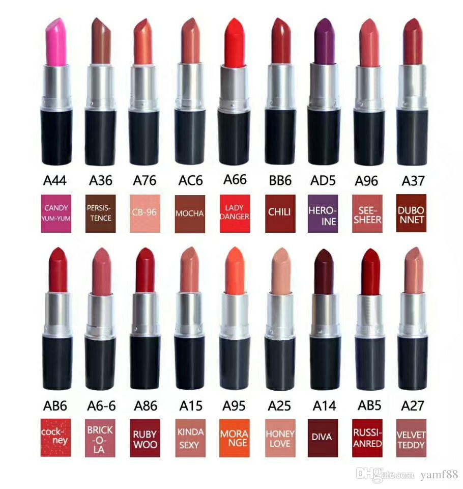 hot selling High quality! brand Makeup Matte Lipstick 3G Long-lasting Lipstick. mix color.