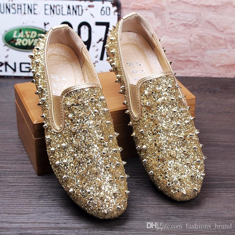 54db5872c80 Men Loafers Wedding Shoes Stud Slip On British Style Man Dress Shoes Shinny  Crsytal Rivets Flats Gold Black Casual Men Shoes Loafers Mens Boots From ...
