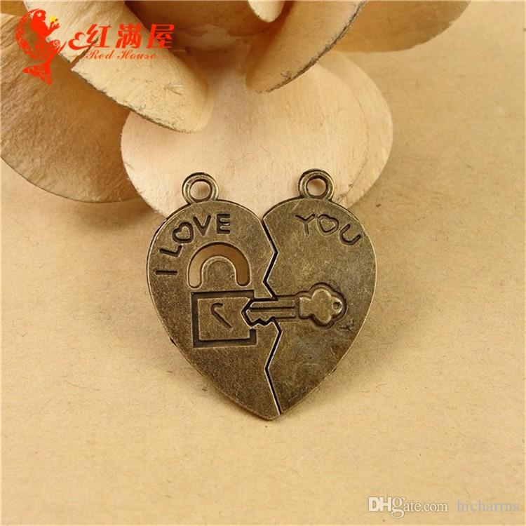 30*27MM Antique Bronze heart lock charms for bracelet, vintage metal i love you word pendants for necklace, tibetan jewelry making findings