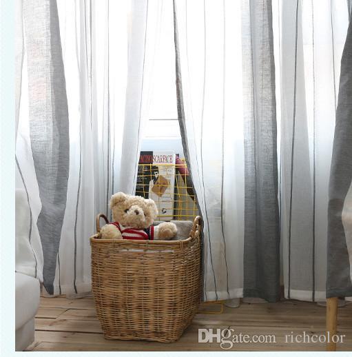 Gray Vertical Stripes Wide Stripes Design Window Gauze