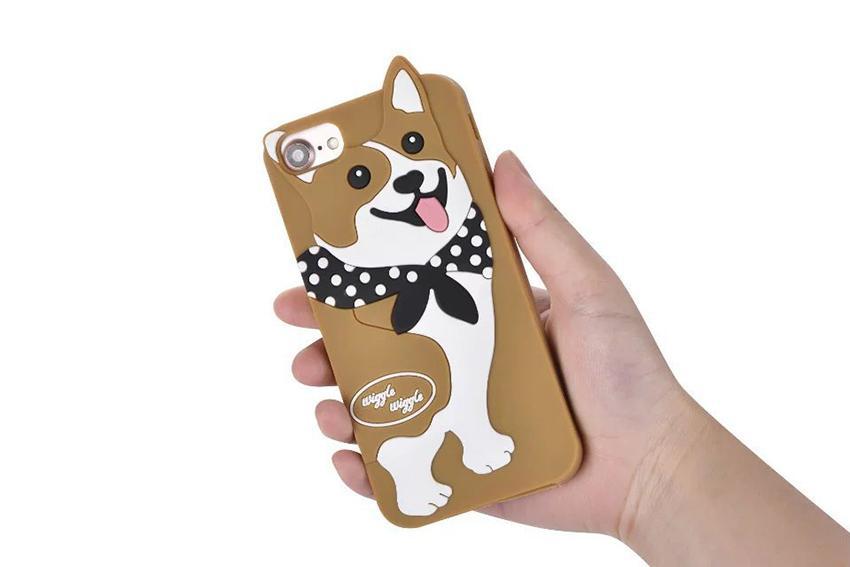 Moda Linda 3D de Dibujos Animados Corea Wiggle Caniche Panda Corgi Dog Phone Cover para iPhone 6 6sPlus 7 7 plus Funda de silicona suave Protector