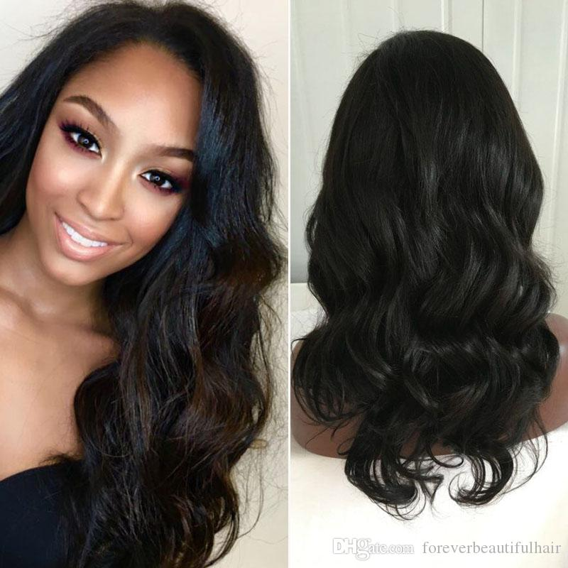 Best Long Full Lace Human Hair Wigs with Side Bangs Virgin Brazilian Body Wave Glueless Human Hair Lace Front Wig with Baby Hair
