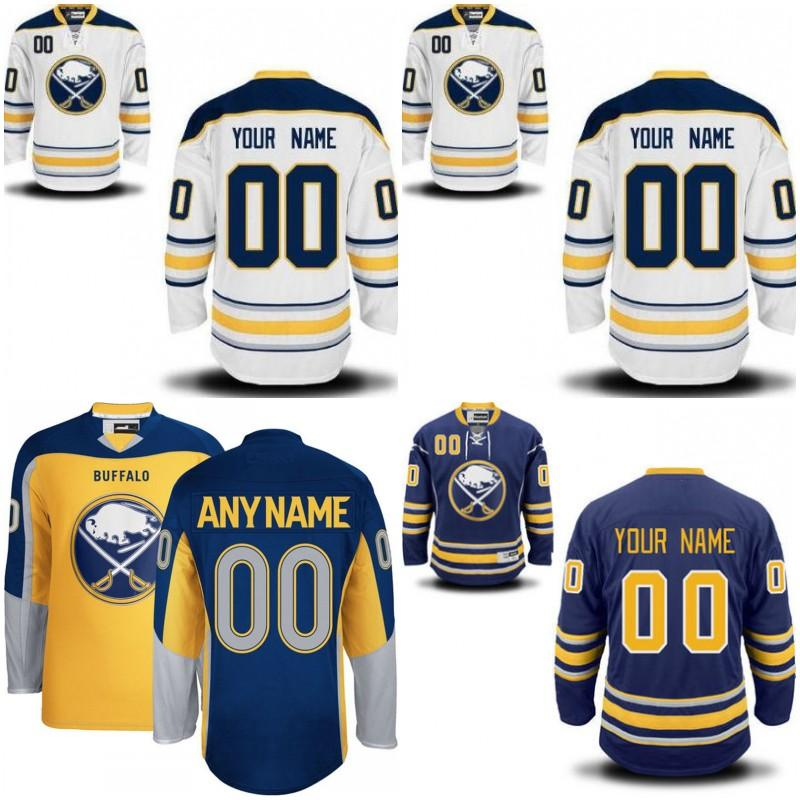 475f4cc4b87 ... Custom Men Buffalo Sabres Customized Blue White Sabres Personalized  Home Away Gold Yellow Alternate Jerseys Womens ...