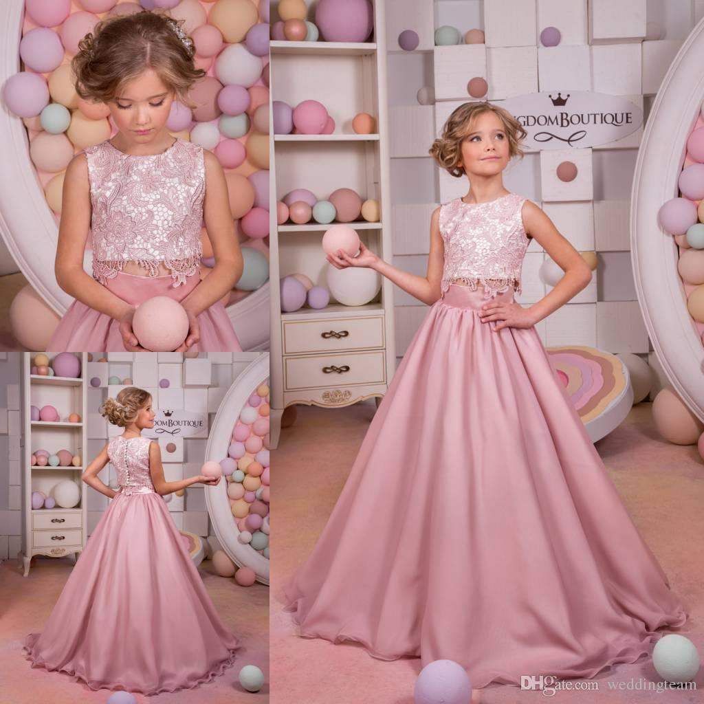 Blush Two Pieces Lace Flower Girls Dresses For Wedding A Line ...