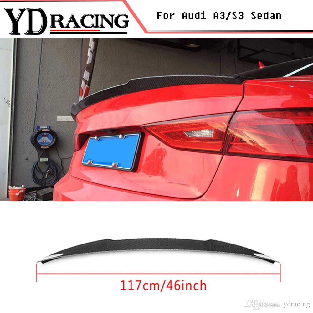 For Audi A3 S3 8v Sedan 2013 2016 Carbon Fiber Auto Car Spoiler Rear Boot Lip Wing Car Styling