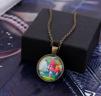 DHL Anime Poppy Trolls Pendant Necklaces Cartoon DreamWorks Glass Jewlery Body Chain Movie Cartoon Jewelry for Best Xmas Gift