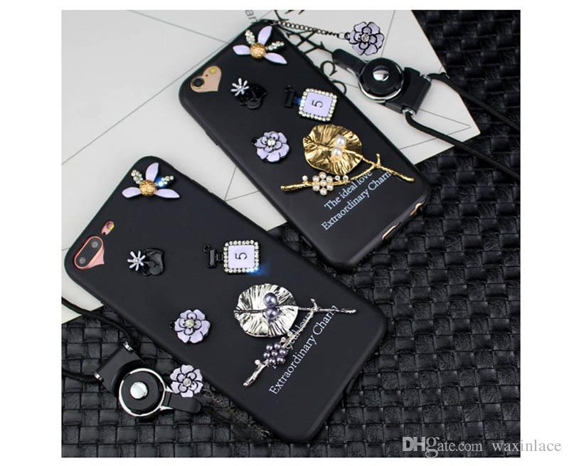 Waxin Cartoon Patch Black Tree Leaves TPU Soft Mobile Phone Back Cover Case For Apple Iphone 7 7Plus 6S 6S Plus Coque