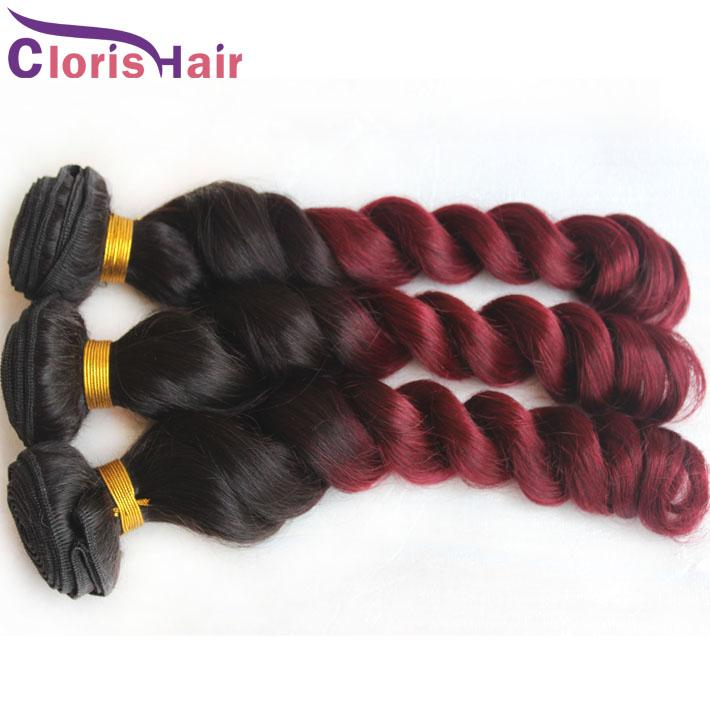 Burgundy Weave Ombre Brazilian Hair Loose Wave Human Hair 3 Bundles Two Tone 1b 99j Curly Ombre Hair Extensions For Sale