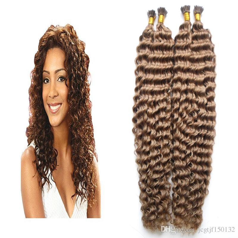 6 Medium Brown Keratin Hair Extension 200gstrands Curly Fusion Hair