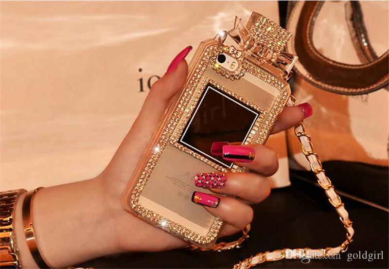 Rhinestone frasco de perfume tpu estojo de proteção com tampa do pacote opp para iphone 4 4s 5 5S se 6 6 s plus samsung s4 s5 s6 nota 2 3 4