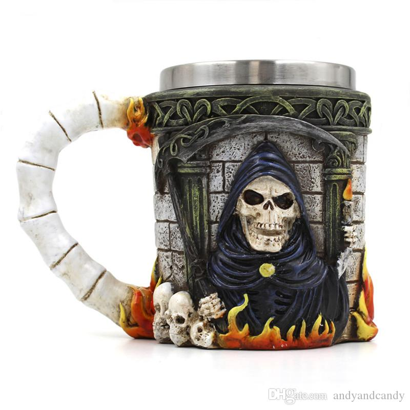 Stainless Steel Liner Drinking Skull Mug Personalized Double Wall Resin 3D Striking Skull Warrior Tankard Viking Beer Mugs For Bar Party