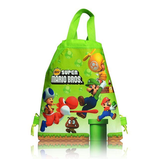 Super Mario bros Cartoon Drawstring Backpack Kids School Bag Birthday Gift Bags Shopping, Travel Storage Bag