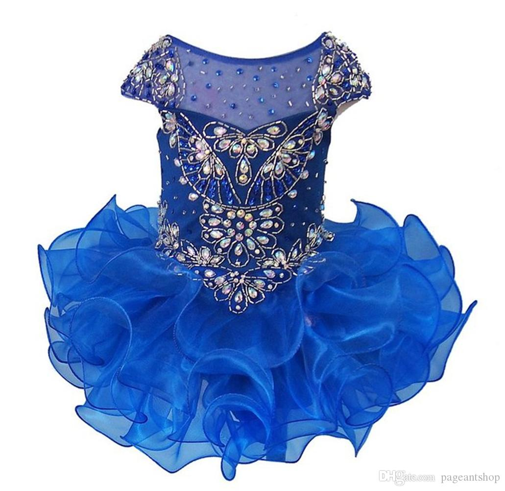 Royal Blue Cap Sleeve Girls Pageant Cupcake Dresses Infant Special Occasion Crystal Tutu Skirt Short Pageant Gowns