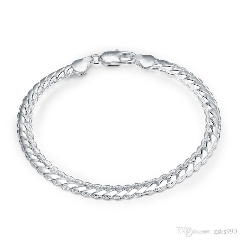 925 Silver Charm Chain Bracelet for men 5mm*8inches Cool birthday gift Fashion Jewelry