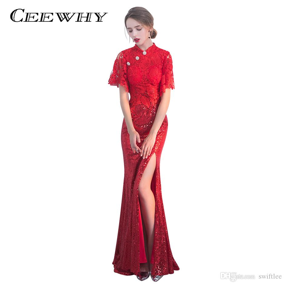 a5d9de1c3bc3 CEEWHY Red Lace Sequined Prom Dress Split Vintage Evening Dress Real ...