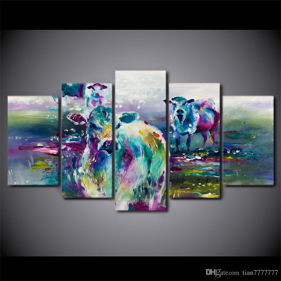 2017 Modern Abstract Art Oil Painting 5 Panel No Frame Cow Animal ...