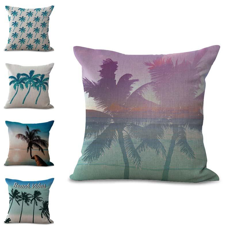 Summer Beach Coconut Palm Tree Pillow Case Cushion Cover Linen Cotton Throw Pillowcases Sofa Car Decorative Pillowcover Drop Shipping PW690