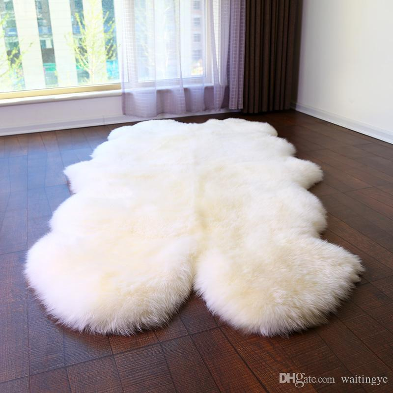 WonderFur SP1108 4P Quad Sheepskin Rug 100*200cm Shaggy Sheep Skin Carpet For Home Decor Bed Mat Blanket Ground Mat Check Carpets Frieze Carpet Prices From ...