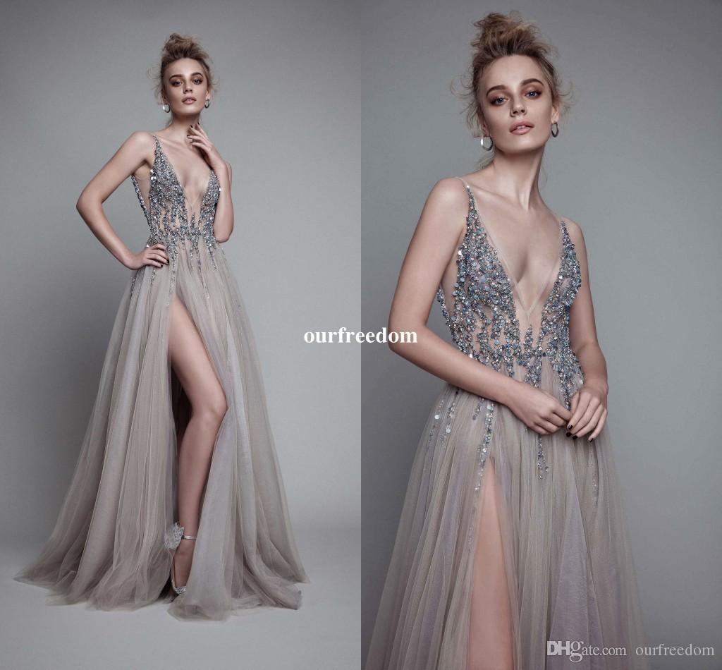 6ccf5f98a Compre 2017 Sexy Gris Plata Vestidos De Noche V Cuello Ilusión Corpiño  Lentejuelas Con Cuentas De Tul Dividir Sin Respaldo Berta Vestidos De Fiesta  Vestidos ...