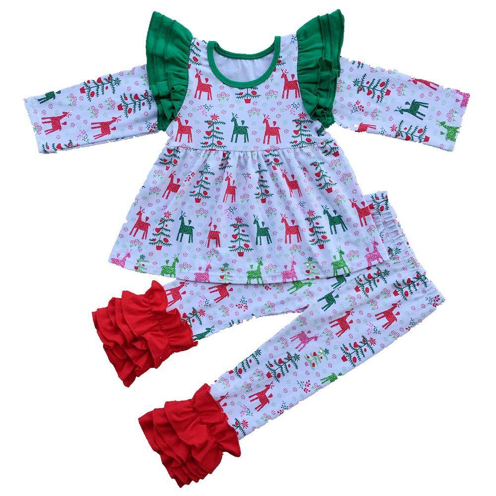 아기 소녀 크리스마스 코 튼 잠옷 정장 긴 비행 슬리브 스트라이프 셔츠 + 레깅스 2 조각 세트 소녀 부티크 파티 복장 키즈 의류