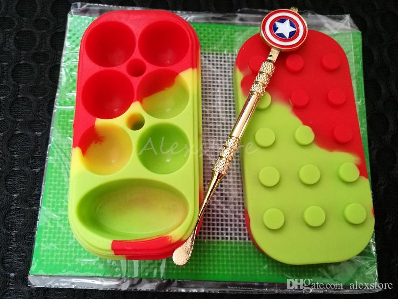 Silicone Wax Set with 14cm*11.5cm square sheets pads mat 6+1 silicon container gold dabber tool for dry herb jars dab DHL