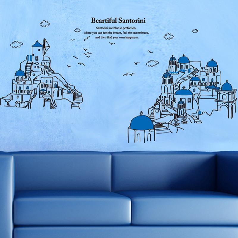 Hermosas Santorini Castillo Silueta Pegatinas de Pared Moderno Creativo Wallpaper Poster Sala de estar Dormitorio DIY Decoración Arte de la Pared Gráficos de Arte