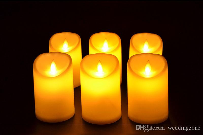 """Great Quality 3""""*4.5"""" Ivory Wax Flameless Moving Wick LED Candle For Wedding Bars Party Home Decoration with"""