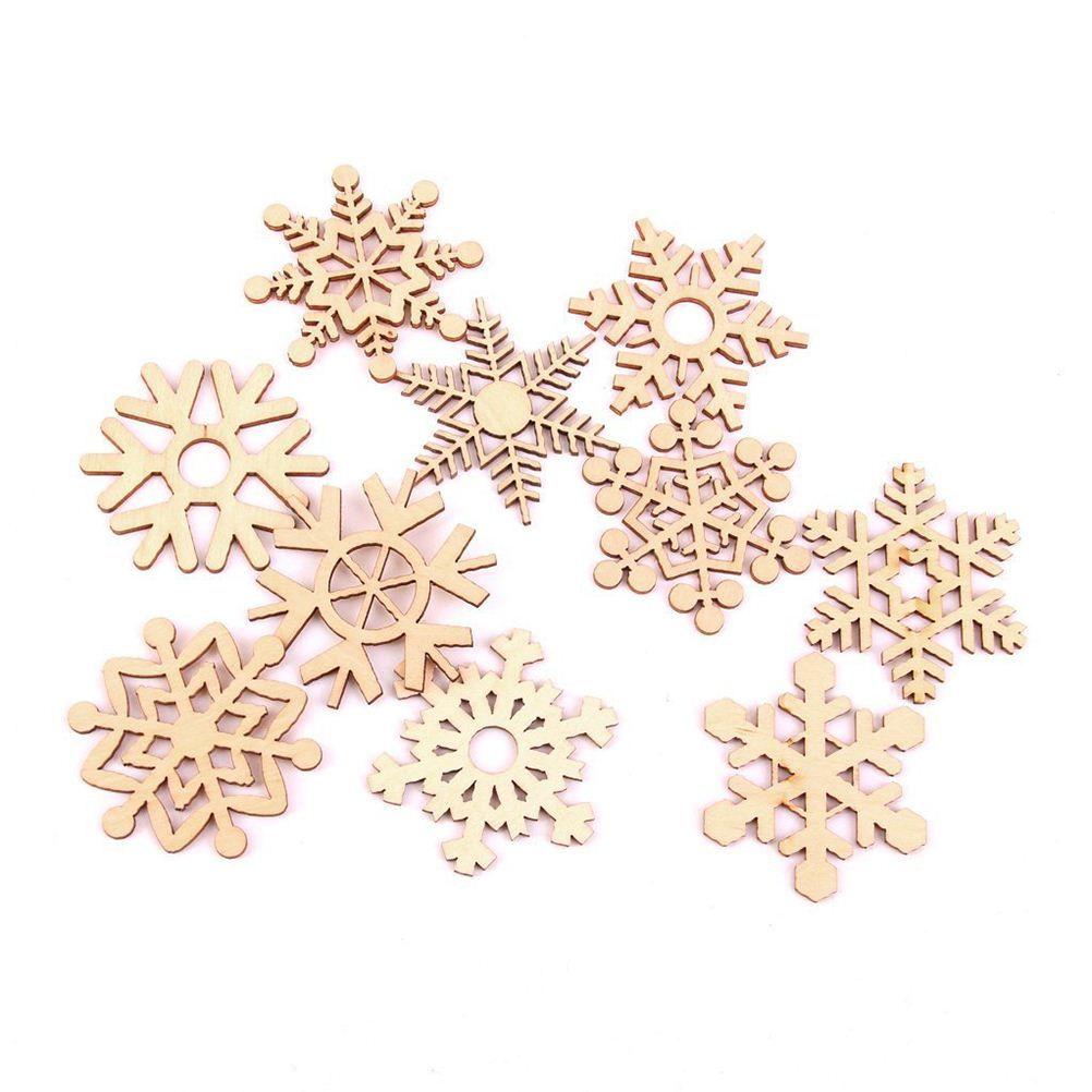 10pcs Assorted Snowflake Wooden Laser Cut Embellishment Christmas Tree Ornament