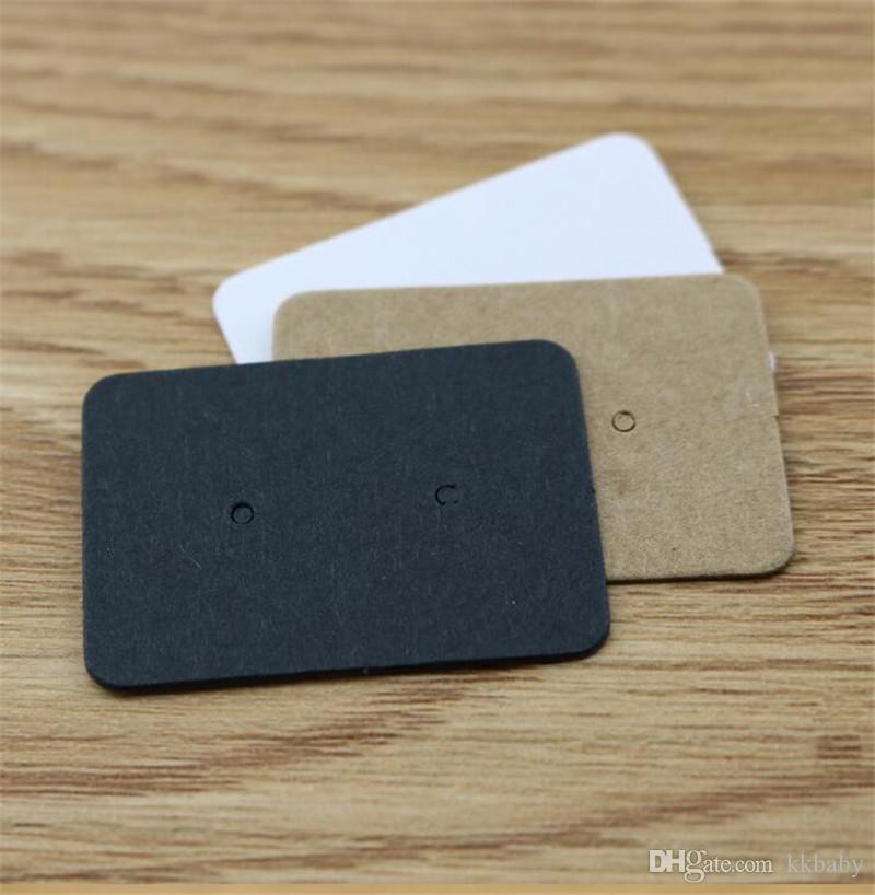 2.5 * 3.5 cm Brincos de Papel Kraft Tag Cartão de Exibição de Jóias Brinco de Varejo Pendurar Etiqueta Tag Ganchos Etiquetas de Preços de Papelão