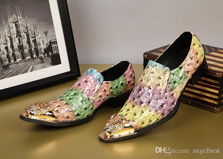 Guapo colorido estilo coreano de charol para hombre Oxfords formales hombres de negocios zapatos de boda para hombres de fiesta planos más el tamaño 38-46
