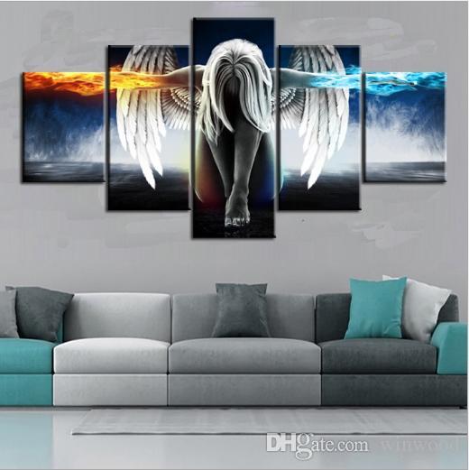 Ölgemälde 5 Stück / Set Engel Demons Flügel Printed Canvas Anime-Raum-Drucken-Wand-Kunst-Farben-Dekoration Dekorative Craft Picture Home Decor