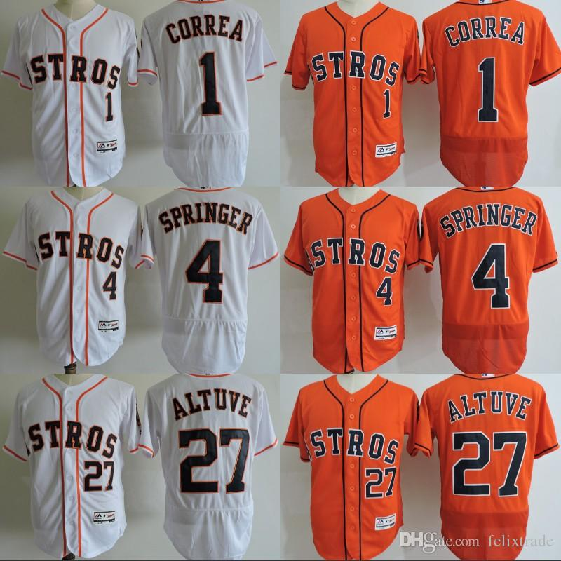 b4cc10376 mens houston astros 1 carlos correa orange flexbase authentic collection 2017  world series bound stitched mlb jersey