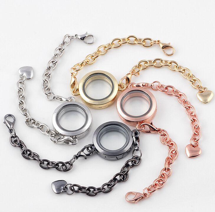 25mm Silver plain round Circle Living Memory Locket Bracelet For Floating Charm