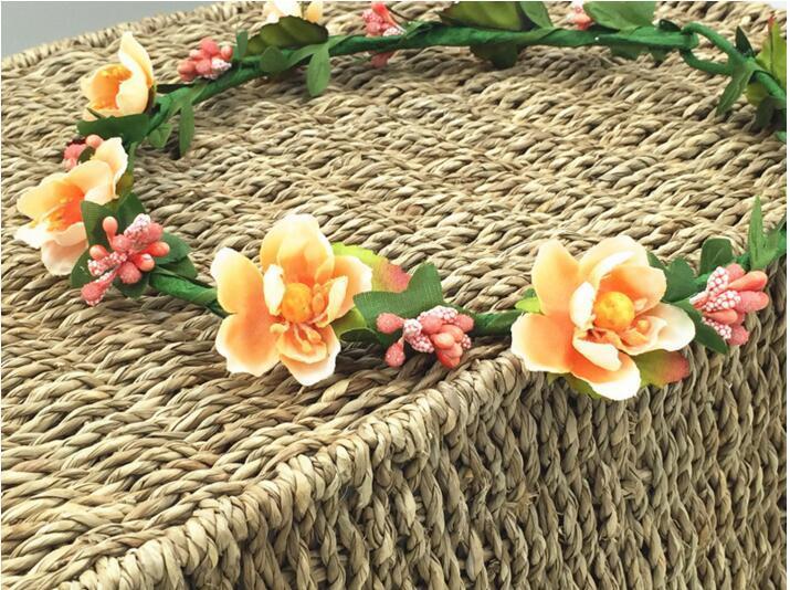 Corone dei capelli della Boemia Fasce capelli delle donne Fasce capelli artificiali floreali Copricapo di moda accessori capelli ragazze Ghirlande matrimoni