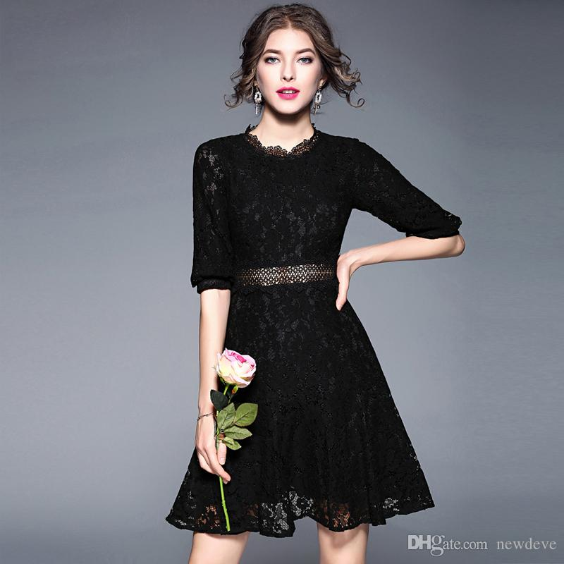 Little Black Full Lace Prom Dress Short Evening Gown With Sleeves A Line Vestidos Festa On Sale Dark Purple Prom Dresses Floral Prom Dress From