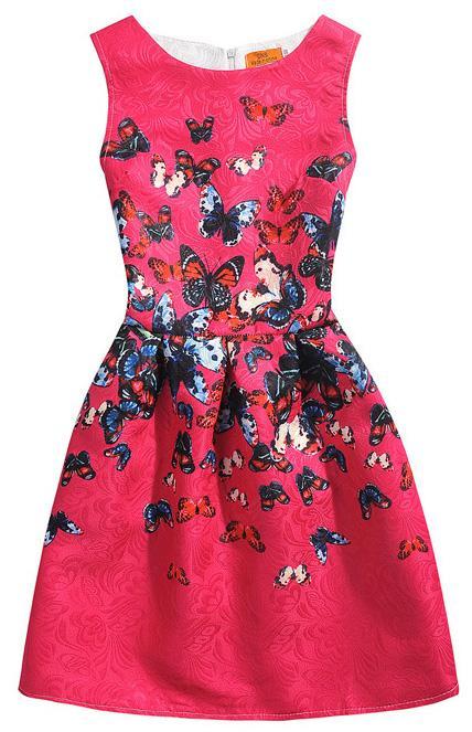 Sleeveless Knee Length Dresses Girl Formal Party Dresses 40 Style Korean Style Teen Girls Fashion Floral Summer Dress 16122101