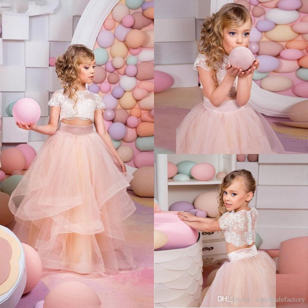 2017 Cute Flower Girl Dresses Short Sleeves Lace Top Birthday Party ...