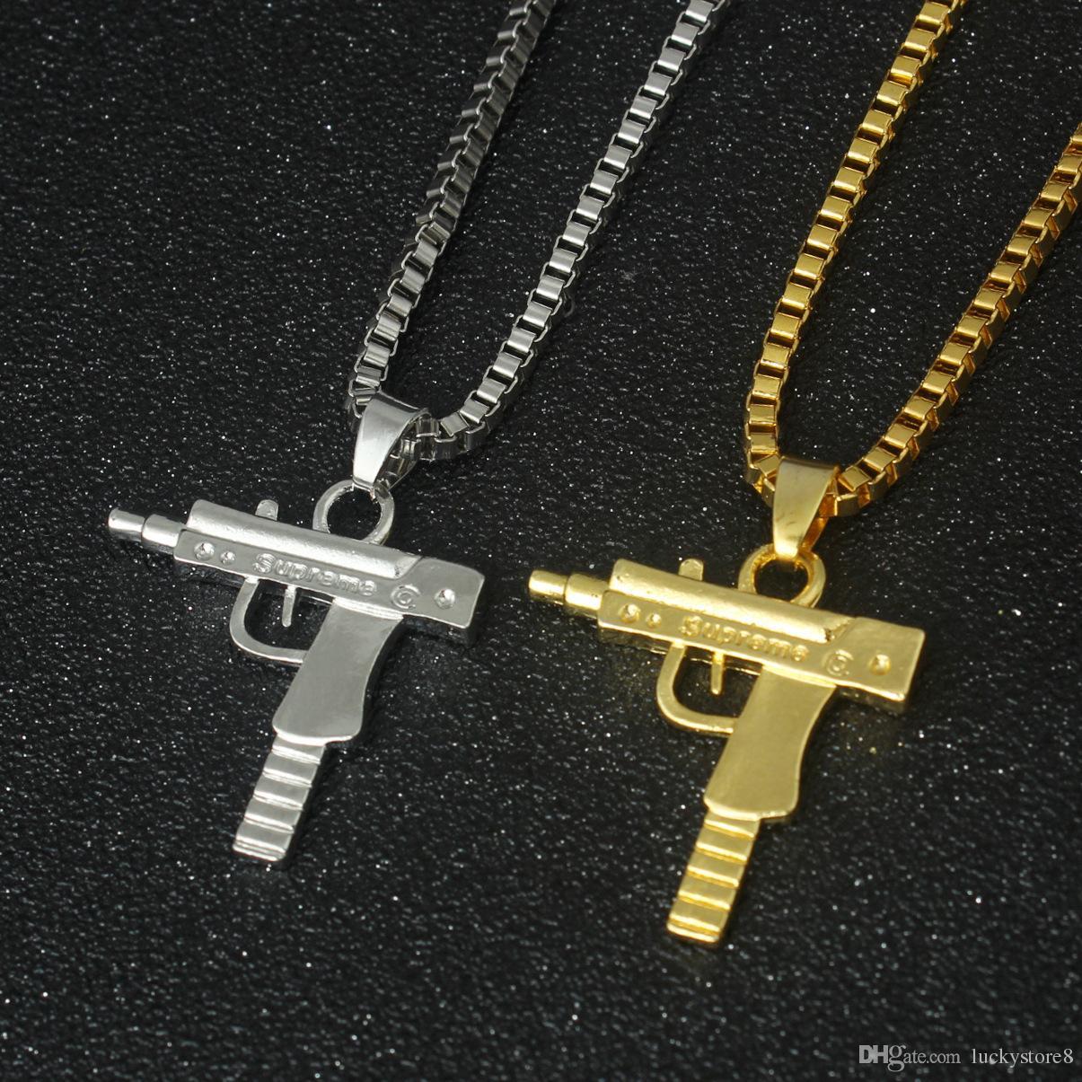 Новый Узи Gold Chain Hip Hop Длинные ожерелье Мужчины Женщины моды Марка Gun Форма пистолета Подвеска Maxi ожерелье HIPHOP ювелирных изделий