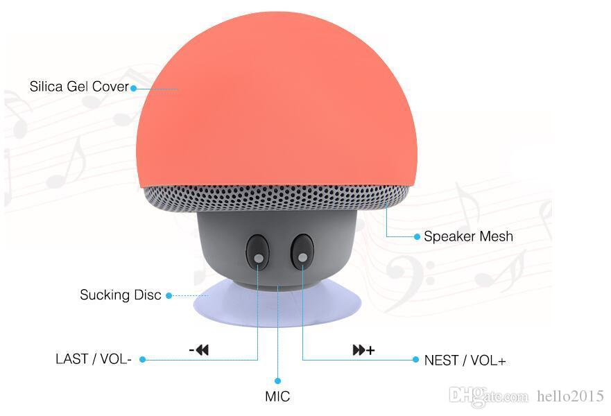 BT280 Mini Mushroom Speakers Subwoofers Bluetooth Wireless Speaker Silicone Suction Cup Cell Phone Tablet PC Stand