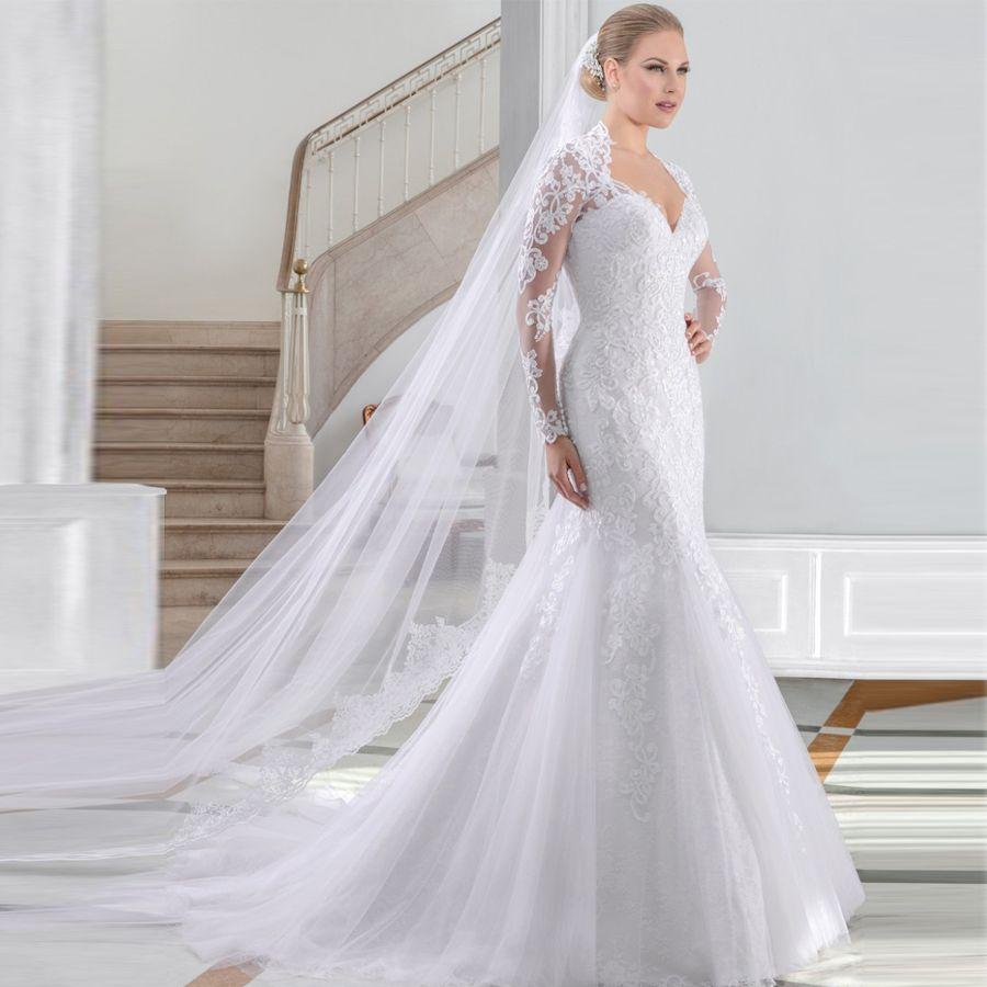 Vestido De Noiva Renda Long Sleeves Mermaid Wedding Dresses Tail Abiti Da Sposa Sexy Back Lace Bridal Dress 2017 Kate Middleton